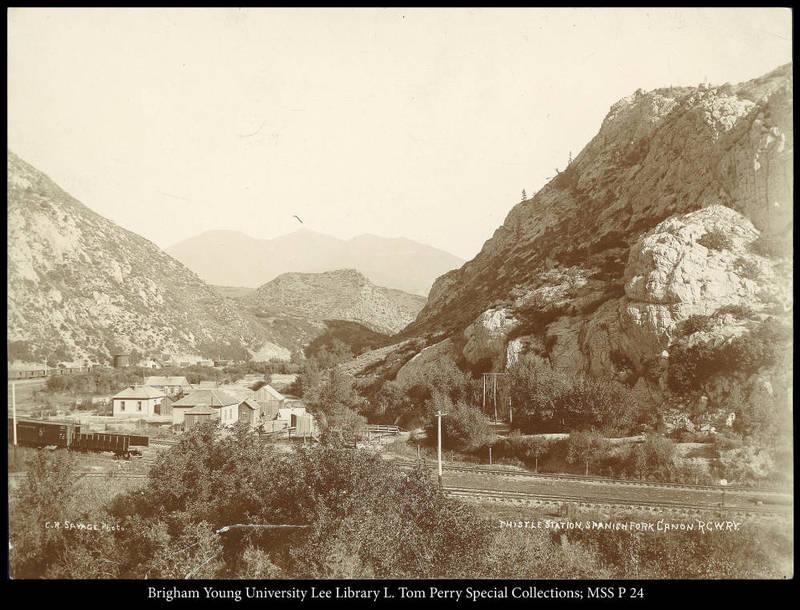 Thistle Station, Spanish Fork Canon. R.G.W.Ry. (Rio Grande Western Railway)